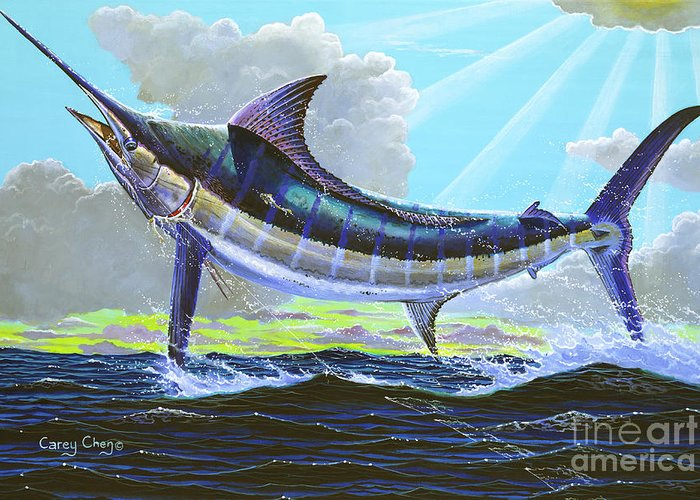 Marlin Greeting Card featuring the painting First Run 00102 by Carey Chen