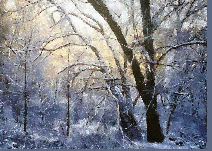 Nature Greeting Card featuring the digital art First Snow by Gun Legler