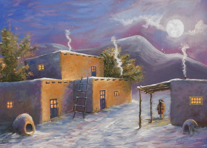Snow Greeting Card featuring the painting First Snow by Jerry McElroy