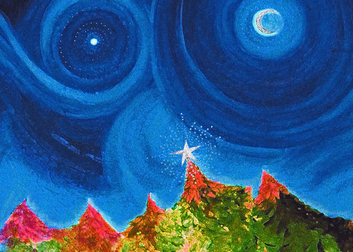 First Star Art By Jrr Greeting Card featuring the painting First Star Christmas Wish By Jrr by First Star Art