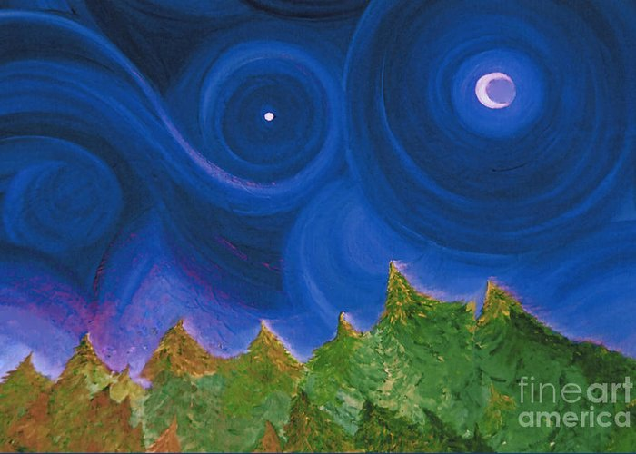 First Star Greeting Card featuring the painting First Star Wish By Jrr by First Star Art
