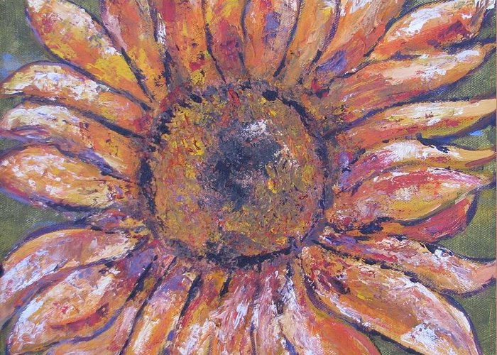 Flower Greeting Card featuring the painting First Sunflower by Jenny Frampton