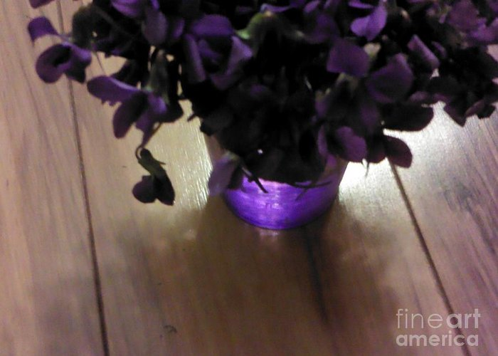 Violets Greeting Card featuring the photograph First Violets by Elizabeth Scriba