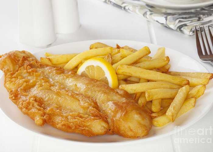 Fish And Chips Greeting Card featuring the photograph Fish And Chips by Colin and Linda McKie