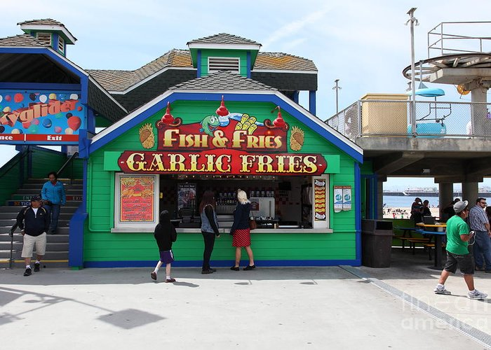 California Greeting Card featuring the photograph Fish And Fries At The Santa Cruz Beach Boardwalk California 5d23687 by Wingsdomain Art and Photography