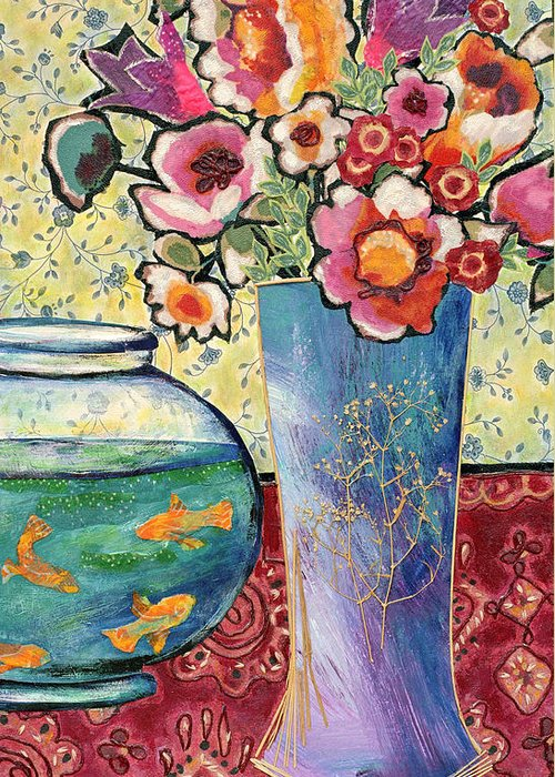 Flowers In A Vase Greeting Card featuring the mixed media Fish Bowl And Posies by Diane Fine