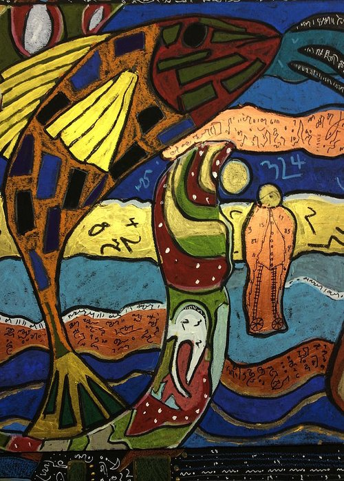 Fish File Greeting Card featuring the painting Fish File Codex The Mother Word 28 by Clarity Artists