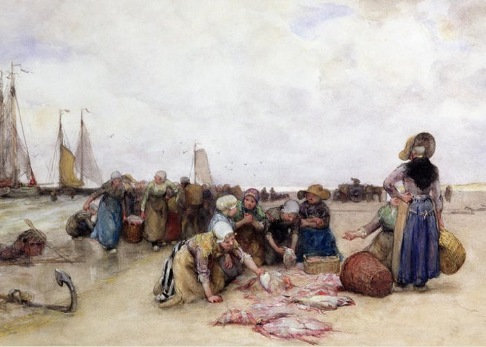 Beach Greeting Card featuring the painting Fish Sale On The Beach by Bernardus Johannes Blommers