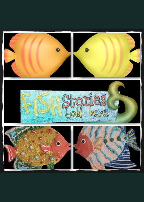Fish Greeting Card featuring the digital art Fish Stories Told Here by Debra Miller