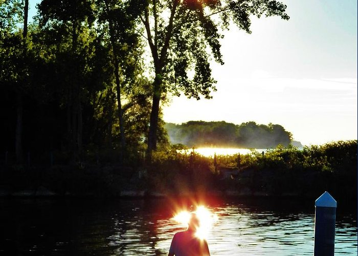 Fisherman Greeting Card featuring the photograph Fisherman In Sunfire by Judy Via-Wolff