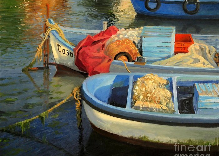 Art Greeting Card featuring the painting Fisherman's Etude by Kiril Stanchev