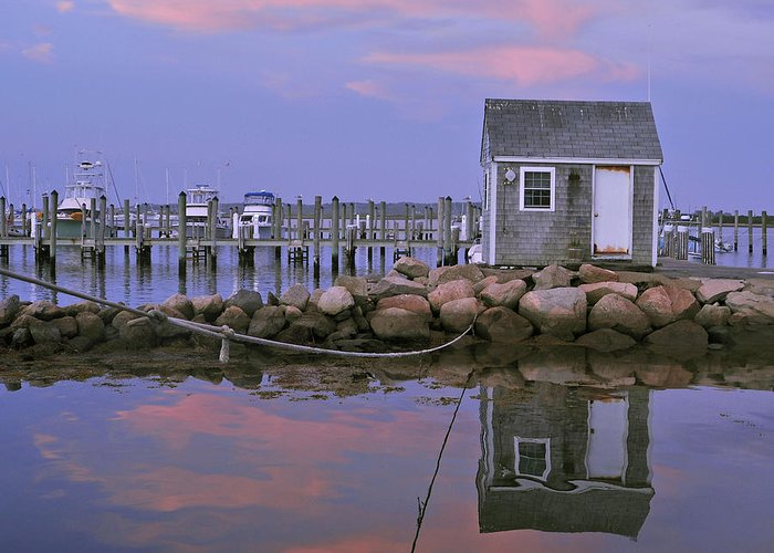 Landscape Greeting Card featuring the photograph Fisherman's Shack Sundown by Phyllis Tarlow