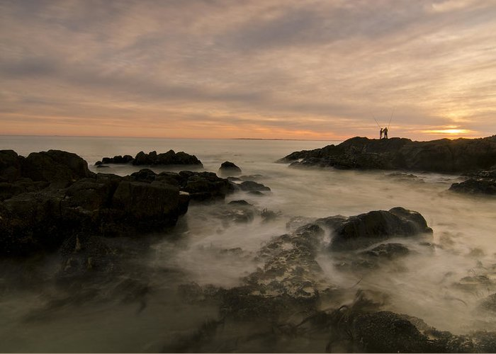 Ocean Greeting Card featuring the photograph Fishermen by Aaron Bedell