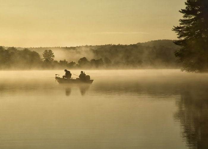 Fishing At Sunrise Greeting Card featuring the photograph Fishermen by Steven Michael