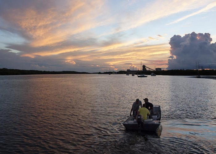 Sunset Greeting Card featuring the photograph Fishers Of The Night by Norman Johnson