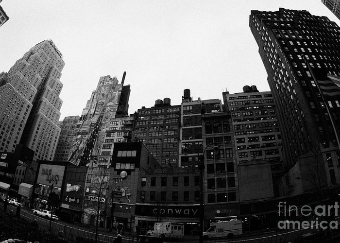 Usa Greeting Card featuring the photograph Fisheye View Of 34th Street From 1 Penn Plaza New York City Usa by Joe Fox