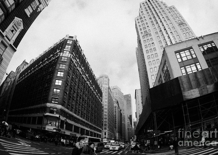 Usa Greeting Card featuring the photograph Fisheye View Of The Herald Square Building And Cross Walks Over Broadway New York by Joe Fox