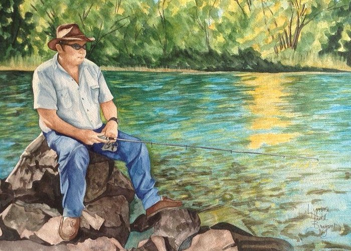Aviemore Greeting Card featuring the painting Fishing At Aviemore by Lynne Hurd Bryant
