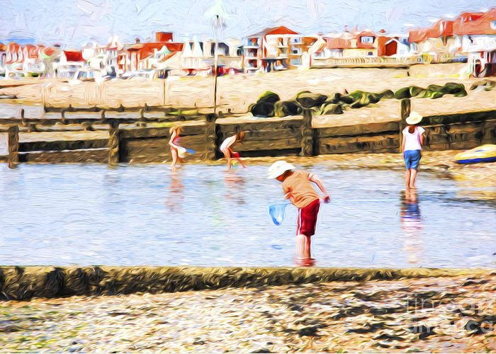 Children Fishing Greeting Card featuring the photograph Fishing at Southend by Sheila Smart Fine Art Photography