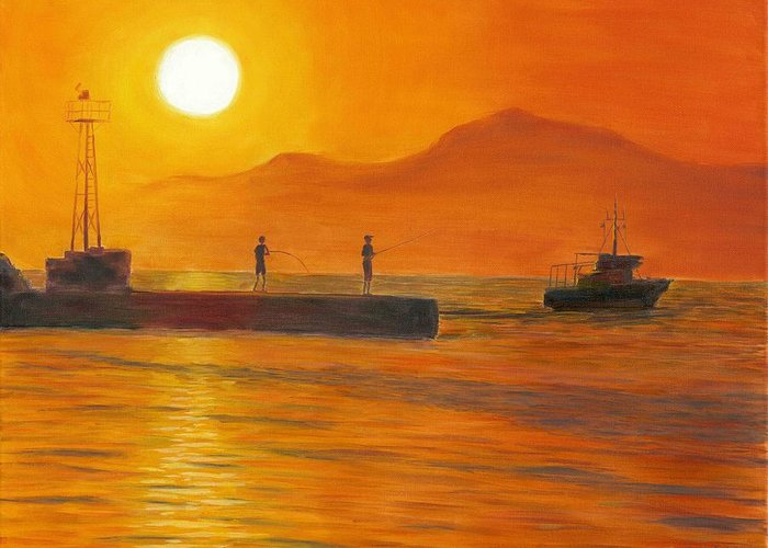 Sunset Greeting Card featuring the painting Fishing At Sunset by Nicolas Nomicos