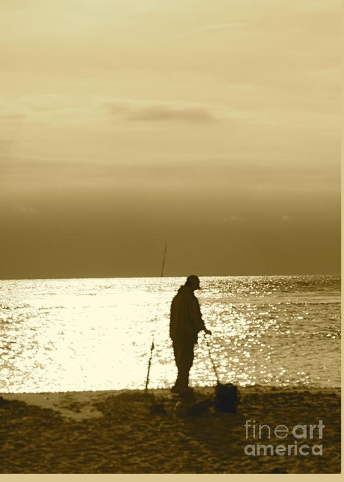 Fisherman Greeting Card featuring the photograph Fishing At Twilight by Lynn Chendorain