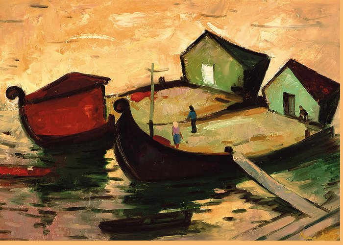Barge Greeting Card featuring the painting Fishing Barges On The River Sugovica by Emil Parrag