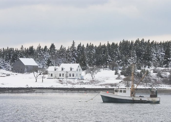 Port Clyde Greeting Card featuring the photograph Fishing Boat After Snowstorm In Port Clyde Harbor Maine by Keith Webber Jr