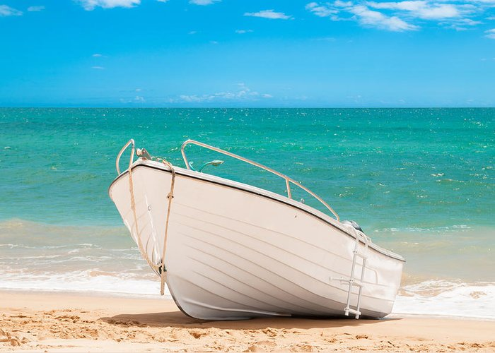 Fishing Greeting Card featuring the photograph Fishing Boat On The Beach Algarve Portugal by Amanda Elwell