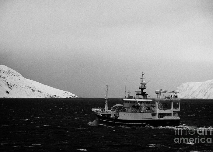 Fishing Boat Sailing Past Snow Covered Fjord Coastline Norway Europe  Greeting Card