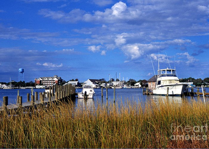 Dock Greeting Card featuring the photograph Fishing Boats At Dock Ocracoke Island by Thomas R Fletcher