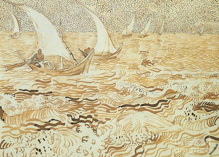 Art Greeting Card featuring the painting Fishing Boats At Saintes Maries De La Mer by Vincent van Gogh