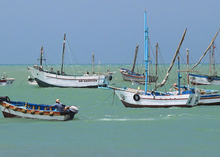 Fishing Greeting Card featuring the photograph Fishing Boats - Cabo Blanco - Peru by Simon Northcott