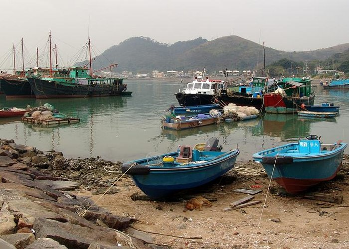 Boat Greeting Card featuring the photograph Fishing Boats - Hong Kong by Ian Mcadie