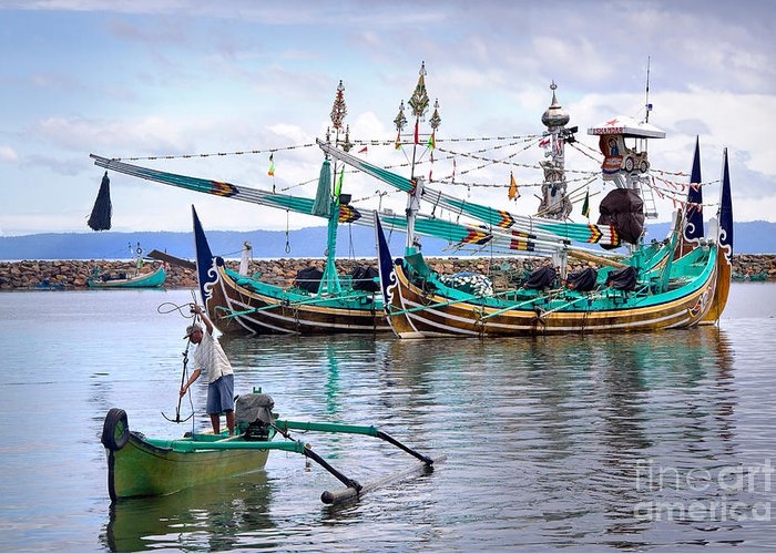 Travel Greeting Card featuring the photograph Fishing Boats In Bali by Louise Heusinkveld