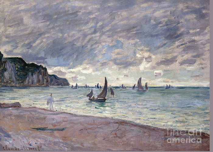 Monet Greeting Card featuring the painting Fishing Boats In Front Of The Beach And Cliffs Of Pourville by Claude Monet