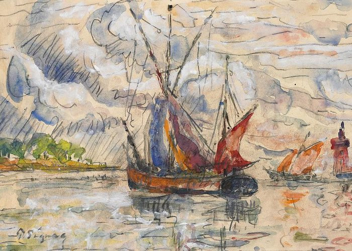 Boat Greeting Card featuring the painting Fishing Boats In La Rochelle by Paul Signac