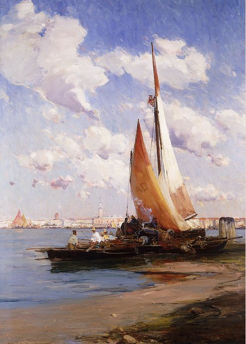 British Greeting Card featuring the painting Fishing Craft With The Rivere Degli Schiavoni Venice by E Aubrey Hunt