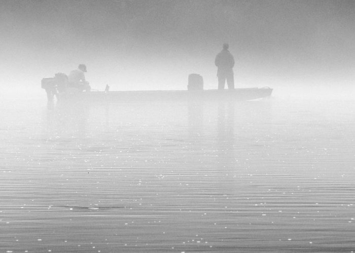 Trout Fishing Greeting Card featuring the photograph Fishing In The Fog by Mike McGlothlen