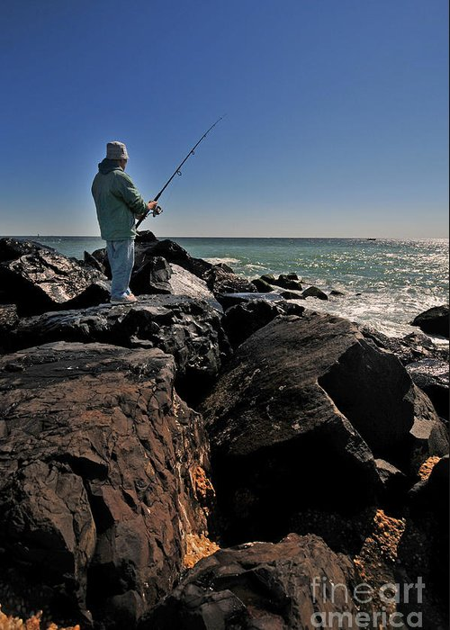 Paul Ward Greeting Card featuring the photograph Fishing Off The Jetty by Paul Ward