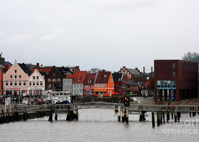 Husum Greeting Card featuring the photograph Fishing Port Husum by Christiane Schulze Art And Photography