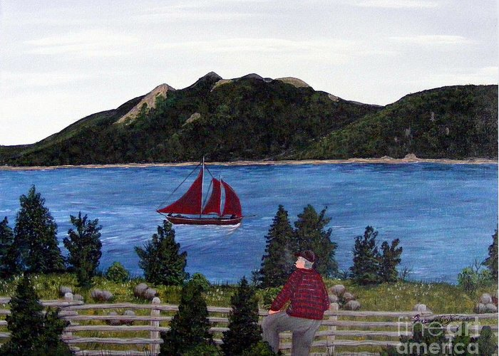 Ship Greeting Card featuring the painting Fishing Schooner by Barbara Griffin