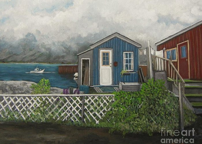 Alaska Greeting Card featuring the painting Fishing Shacks Alaska by Reb Frost