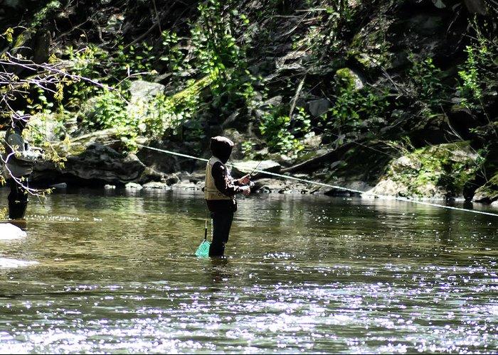 Fishing The Wissahickon Greeting Card featuring the photograph Fishing The Wissahickon by Bill Cannon