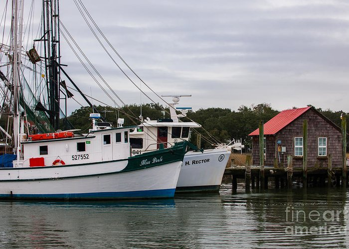 Shrimp Boats Greeting Card featuring the photograph Fishing Trawlers by Dale Powell