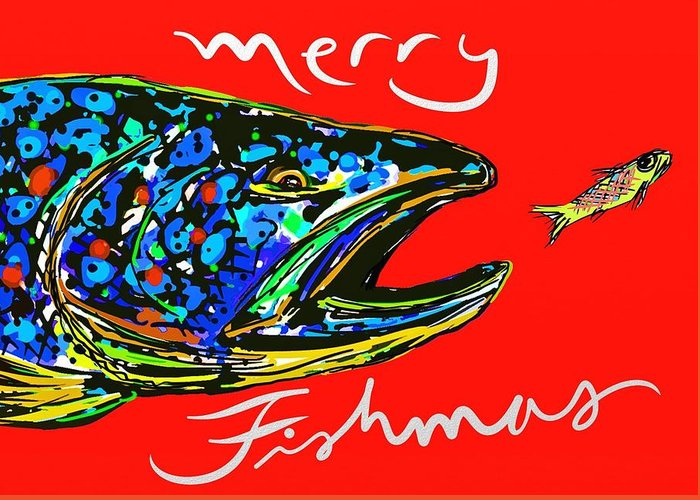 Fish Greeting Card featuring the digital art Fishmas Trout by Owl Jones