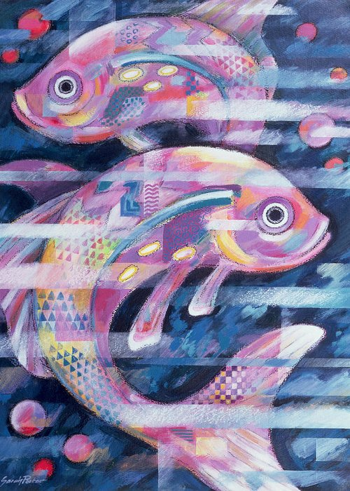 Fish Greeting Card featuring the painting Fishstream by Sarah Porter