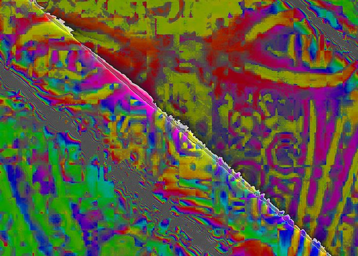 Abstract Greeting Card featuring the digital art Fissure by Jack Bowman