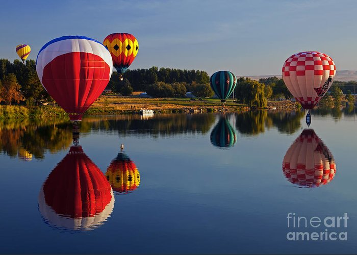 Balloons Greeting Card featuring the photograph Five Aloft by Mike Dawson