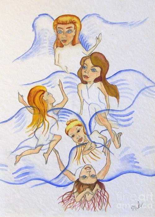 Blues Greeting Card featuring the drawing Five Angels Hanging Around by Kenneth Michur