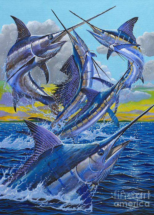 Billfish Greeting Card featuring the painting Five Billfish Off00136 by Carey Chen